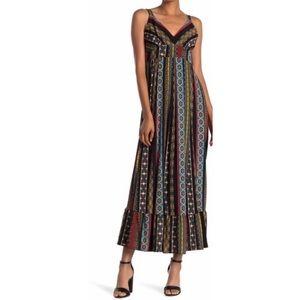 Tahari | Tile stripes pattern maxi dress | Size M